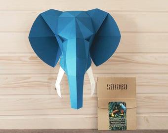 Elephant paper DIY KIT | Custom colors | Papercraft | 3D wall art | Elephant ornament | Faux taxidermy | Paper trophy | Jungle animals