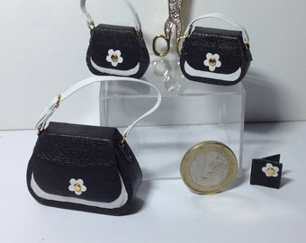Real leather miniature bags:set of 4 pieces