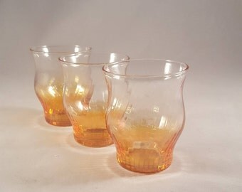 Iridescent Light Orange Shot Glasses  S/3