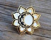 Moon Mandala Enamel Pin, Hard Enamel Pin, Moon Brooch, Gold Pin, Lapel Pin, Mandala Pin, Stocking Stuffers, Moon Pin