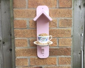 Handmade Pink Outdoor Garden Bird Feeder Reclaimed Wood Vintage Tea Cup Birthday Gift Gardening Gift