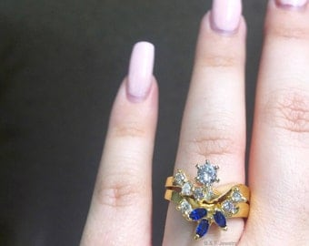 14K Yellow Gold Diamond And Sapphire Bridal Set