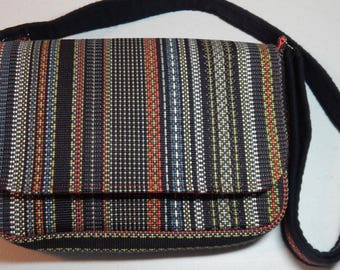 Multi-color Striped Chemo Pump Bag/Purse with Red Batik Lining