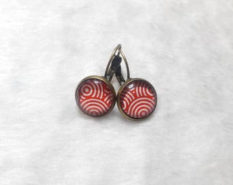 Earrings cabochons red circles