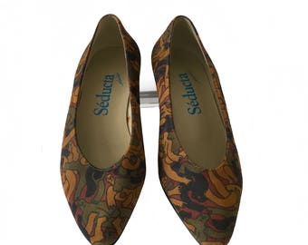 Suede Leather Vintage Pumps Shoes . Vintage 80s New Wave Women Shoes . Dressy shoes. French Seducta SHOES