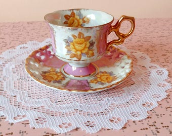 Vintage Shafford pink tea cup and saucer