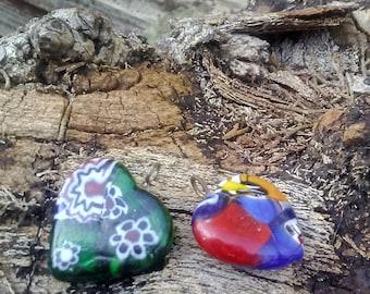 Cloisonne Pendants/Two Cloisonne Pendants/Heart Cloisonne Pendants/Heart Necklace Components/Heart Pendants/Colorful Heart Pendants