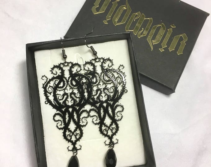 Earrings, Metal Filigree Jewelery , handmade in italy with glass bead necklace thorn style
