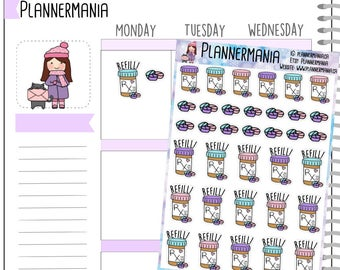 Planner Stickers, Hand Drawn Stickers, Prescription Refill Sticker, Medicine Sticker, Pill Bottle Sticker - 911