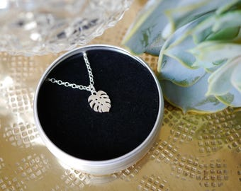 Sterling Silver Cheese Plant Necklace / chain / cheese plant gift / gifts for her / monstera / stocking filler / 925 / hypoallergenic
