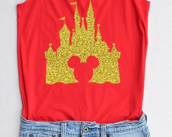 Glitter Mickey mouse with castle - Disney shirt,Disney tank top,Princess shirt,Princess tank top,mickey tank top,mickey shirt
