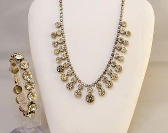 SET of Vintage Costume 60's Graduated Rhinestone Necklace & Bracelet