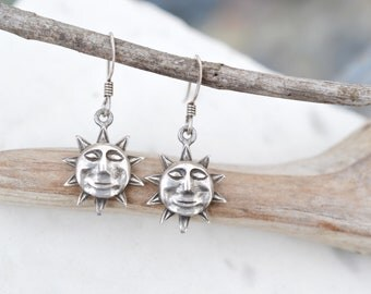 Sterling Silver Sun Dangle Earrings, Sterling Sun Earrings, Sun Face Dangle Earrings, Hippie Jewelry, Sterling Silver Hippie Earrings