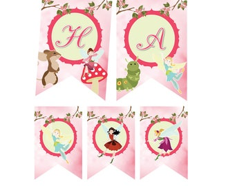 Fairy Birthday Banner, Fairy Birthday Party, Fairy Garden Birthday, Fairy Printables, Bunting, fairy banner, Instant banner, garden fairies