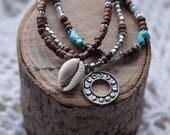 Boho Beaded Bracelet, Moon Charm, Cowrie Shell, 3 in 1 Bracelet, Bohemian Jewelry