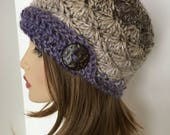 Crochet Women's Hat, Alpaca Hat, Cloche, Bling Button, Wool Hat,Button Hat, Chunky Hat, Vintage, Women's Alpaca Hat, Crochet Hat, Winter Hat