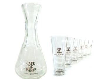 6 Glasses & Carafe Set Café de Paris Blanc de Blancs, French Vintage Brasserie
