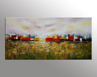 Abstract Painting, Canvas Artwork, Large Abstract Art, Cityscape Art, Heavy Texture Wall Art, Original Oil Painting, Living Room Wall Art