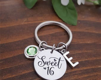 16th Birthday Gift | Sweet 16 Keychain | Sweet 16 Gift | Personalized Keychain for Sweet 16 | Sweet Sixteen Key Chain | Sweet 16 Key Chain