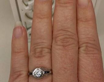 Art Deco Diamond and Sapphire Engagement Ring 18k White gold