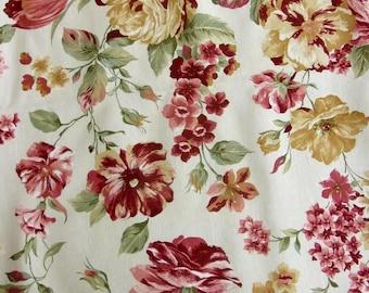 Superbe Toile Coton solide, Large Floral sur fond crème