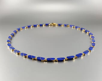 Lapis lazuli Collier/necklace with 18K gold inlay work - natural genuine afghan Lapis - blue and gold - Statement necklace - gift Christmas