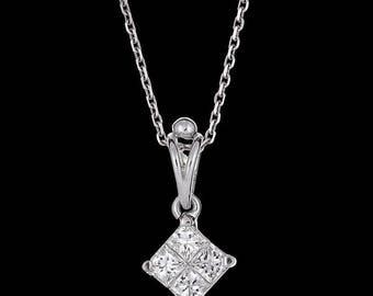 Ladies Diamond Shaped Diamond Pendant