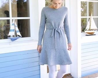 Merino Wool Dress | Warmly Dress | Wide Skirt | Women dress | Tight Fitting Dress | Elegant Dress | French Dress | Date Dress | Winter Dress