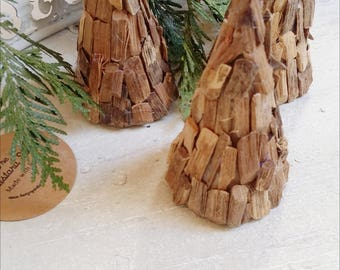 Miniature Wood Chip Christmas Trees