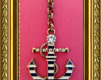 Ceiling Fan Pull Chain / Home Decor - Gold Anchor - Blue & White Stripes - Gold Link Chain - Anchor Fan Pull - Nautical Fan Pull