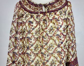 Vintage 70s Jaipur Indian Boho Hippy Peasant Blouse Dianna Mackinnon 14 12 10 M