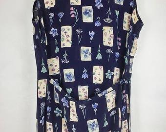 Vintage 90s Monsoon Grunge Floral Blue Wrap Style Apron Front Dress Size 12