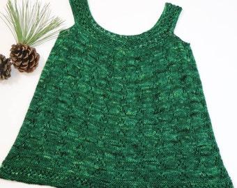 Deep green little girl dress, evergreen Christmas dress, wool jumper, winter knit dress
