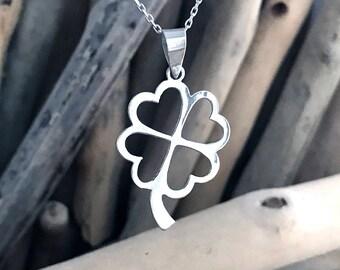 Four Leaf Clover Necklace, 4 Leaf Clover Necklace, Clover Pendant, Silver Clover Necklace SUE031