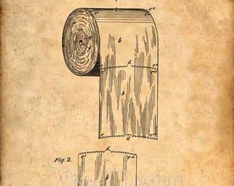 Patent Print of a Toilet Paper Roll Patent Art Print Patent Poster Bathroom Art