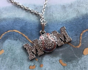 Baseball Pendant, Mom/Baseball Necklace, Rhinestone Baseball Pendant, Sports Necklace/Pendant, Sports Jewelry, Baseball Jewelry, Gift Idea