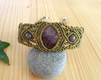 Agate macrame bracelet, macrame jewelry, hippie bracelet, agate jewelry, tribal bracelet, macrame stone, gemstone bracelet, bohemian jewelry