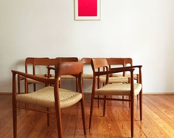 Danish Mid-Century Model 56 & 75 Chairs by Niels O. Møller, Set of 8