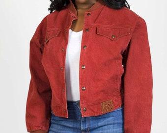 Vintage Denim Bomber Jacket Red Jean Collarless Snap Women's Size Large