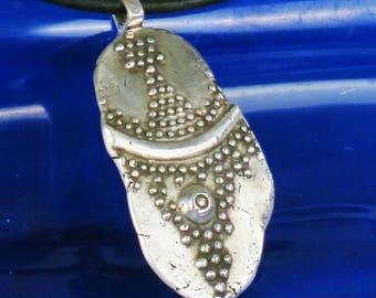 Handmade Silver Granules Fragment Pendant - Tribal Design Fine Silver Necklace - Archeological Fragment Fine Silver Granules Pendant Gift