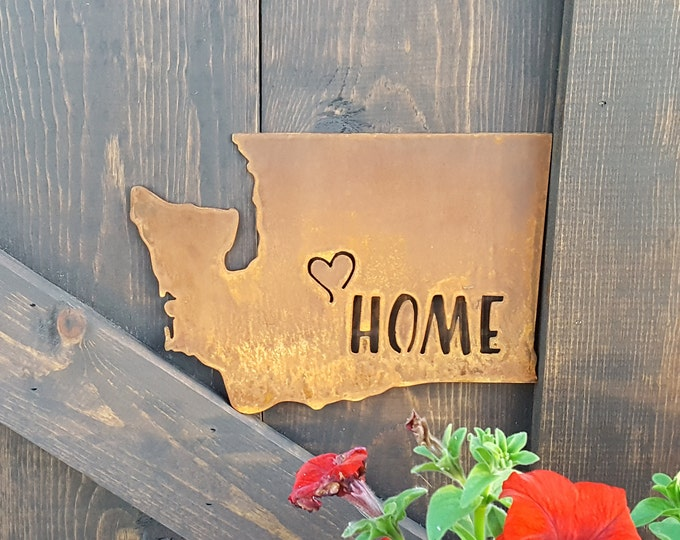 Home State Sign, Metal signs, Rustic Home Decor, Rustic Signs, Farmhouse Decor, Rustic Decor, State Signs, Fixer Upper Style, Gift