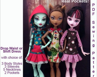 "SPORTY DRESS Doll Clothes Sewing Pattern for 17"" Fashion Dolls like Monster High, fits Gooliope - Instant PDF Download"