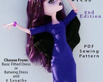 "BATWING DRESS 2nd. Ed. Doll Clothes Sewing Pattern for 17"" Fashion Dolls like Monster High, fits Gooliope - Instant PDF Download"