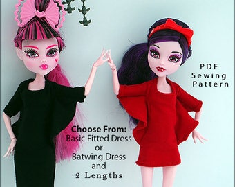 "BATWING DRESS 2nd. Ed. Doll Clothes Sewing Pattern for 9.5"" - 11"" Fashion Dolls like Monster High, fits Pullip - Instant PDF Download"