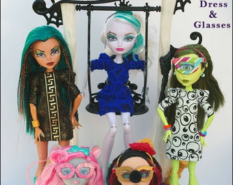 "CLOWN CHIC Sheath Dress and Glasses Doll Clothes Sewing Pattern for 9.5"" - 11.5"" Fashion Dolls like Monster High - Instant PDF Download"
