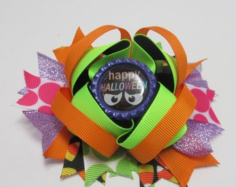 Happy Halloween Twisted Boutique Hair Bow, Layered Bow, Fall Bow, Trick or Treat Bow, School Bow