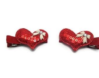 Red Sequin Heart Hair Clip Set - Valentine Hair Clips - Valentine Gift - Birthday Gift