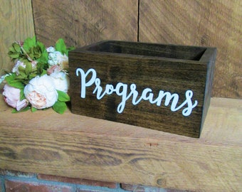 Program holder, program box, wedding programs, wedding schedule, rustic wedding decor, wedding box, wood wedding sign, programs sign, rustic