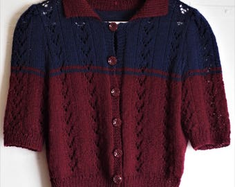 RESERVED for Yan - Beautiful 1940s Style Hand Knitted Wool Cardigan