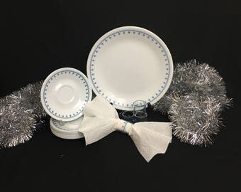 Corelle Snowflake Blue Lot | Set of Four Glass Napkin Rings | Two Dinner Plates | Eight Saucers